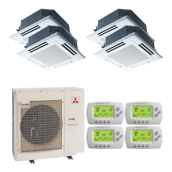 4 zone system utilizing ceiling cassettes - Ductless Air System
